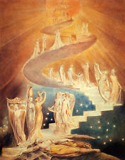 William Blake: Jacob's Ladder Vision Painting Christianity Real Canvas Art Print