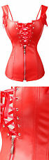 Gothic Red Faux Leather Overbust Size XL Punk Corset Zipper Strap Bustier WC
