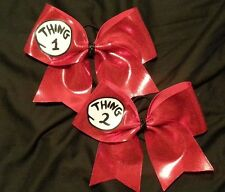 "Thing 1 Thing 2 Hair Bow 3"" Inch Red Ribbon Cheer Bow Handmade Cheerleading"