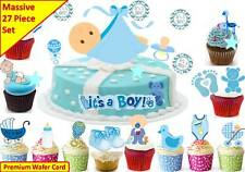 Baby Boy Shower New Born Cup Cake Scene Toppers Birthday Wafer Edible STAND UP