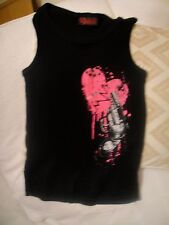 Ladies The Dark Side black goth rock chick vest top pink heart gun size M