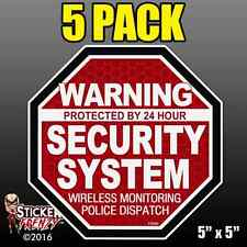 "5 Pack Warning 24 hour Security System Stickers  ""OCT"" RED Alarm Decal FS062"
