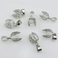 20999 4pcs Silver Copper Smooth Hollow Leaf Clip Bail Loop Pendant Charms Making
