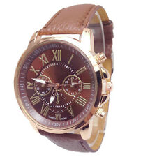 Faux Leather Womens Watch Ladies Dress Watch Roman Numerals Quartz Wristwatches