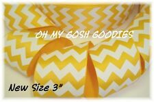"3"" EASTER YELLOW WHITE CHEVRON ZIG ZAG STRIPE GROSGRAIN RIBBON 4 HAIRBOW BOW"