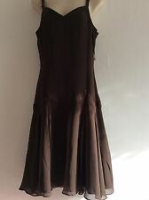 New Ted Baker brown silk dress size 2 UK 10 20's Flapper Charleston