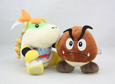 "Super Mario Brothers 5"" Goomba & 7"" Bowser Jr. Koopa Soft Plush Toy Doll New/wt"