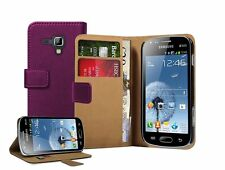 Wallet PURPLE Leather Flip Case Cover Pouch for Samsung Galaxy S Duos 2 GT-S7582