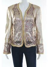 Roberto Cavalli Gold Leather Laser Cut Limited Edition Dragon Jacket Size 12