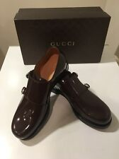 New Gucci Shade Lux Cocoa Patent Leather Monk Strap Oxford Uk 8 /US 9 ����