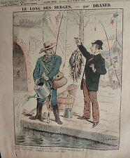 PLANCHE COULEUR DESSIN DE DRANER  VERS 1898 LA PECHE LE LONG DES BERGES