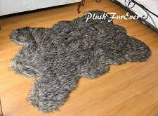 Black Tip Coyote Bearskin Area Rug Accents Faux Fur Decors Large   Throw Rugs