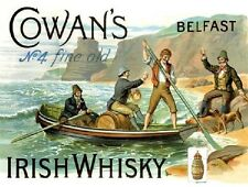Cowan's Irish Whisky, Belfast, Bar, Club Pub, Restaurant, Medium Metal/Tin Sign