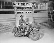 Photograph Vintage WWII Military Police Army Motorcycle 1942  8x10