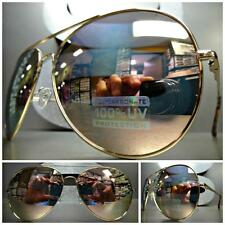 Men's or Women LARGE VINTAGE Style SUN GLASSES Rose Gold Frame Pink Mirror Lens