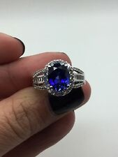 JWBR 10 K White Gold Ring With Blue Sapphire and CZ Stones Size 7 1/4