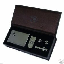 $ Sign Cufflinks Tie Clip Money Clip & Card case Set