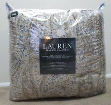 New RALPH LAUREN King Size 4 Pc Comforter Set Beige Blue Paisley 2 Sham Bedskirt