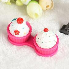 Cartoon Cake Cream Shape Contact Lens Case Box Set Container Holder Storage Kit