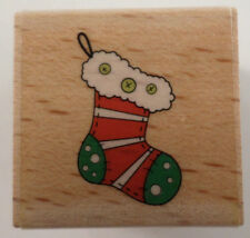 Rubber Stampede Stocking For Gifts Presents Holiday Theme Wooden Rubber Stamp