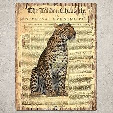 PP0188 CLASSIC NEWSPAPER LEOPARD Sign Home Bar Cafe Restaurant Interior Decor