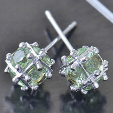 Apple Green CZ 9K White Gold Filled Womens Megic-Ball Stud earing Free Shipping