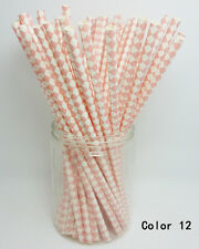 25 Paper Drinking Straws Diamond Pattern Straw Wedding Birthday Party Color 12