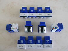 100 pack lot Keystone Jack Cat5e Blue Network Ethernet 110 Punchdown 8P8C RJ45