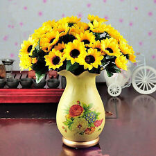 Top 14 Head Fake Sunflower Artificial Silk Flower Bunch Wedding Floral Decor FG