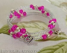 Pretty Memory Wire Hot Pink Crackle Glass Crystal Beaded Braclet Handcrafted New