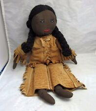 Hand made cloth girl doll. leather jacket, pants. African American