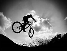 ART PRINT POSTER SPORT PHOTO BMX BIKE JUMP BICYCLE SILHOUETTE NOFL0445