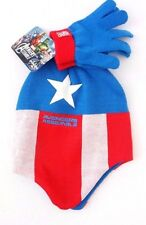 Marvel Captain America Kids Boy's Blue/Red Ear Flap Hat & Mittens 2 Piece set