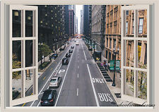 Chicago Street Window View Repositionable Color Wall Sticker Wall Mural 3 FT