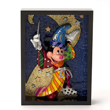 "ROMERO BRITTO DISNEY MICKEY ""SORCERER"" FRAMED POP ART BLOCK 3-D ** NEW **"