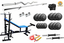 GB Home GymSet 8 in 1 Bench+100kg Rubber Plate +3ft Curl Rod +5ft Plain Rod