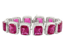 10k White Gold Royal Created Ruby Gemstone Real Diamond 7.5 inch Bracelet 5.5Ct
