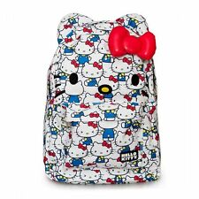Hello Kitty Backpack All Over Print White Red Blue 3D Bow Loungefly Licensed NEW