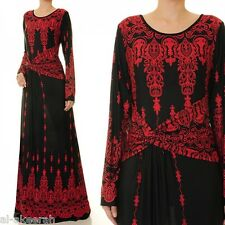 USA SELLER Black Red Long Sleeve Casual Full-length Maxi dress #2822