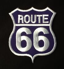 ROUTE 66 AMERICAN HIGHWAY ROAD TRIP CLASSIC CAR BLUE BADGE IRON SEW ON PATCH