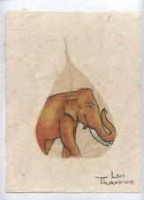 Original Ink and Oil with Bodhi Leaf - Elephant    Vientiane Laos       BL25
