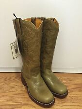NWT Frye women's campus style boots green crackle leather orange stitches sz 6.5