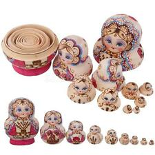 10pcs Russian Wood Nesting Dolls Set Little Tree Matryoshka Hand Painted