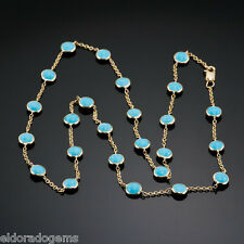 """GEMSTONE BY THE YARD NECKLACE CABOCHON TURQUOISE 14K YELLOW GOLD CABLE CHAIN 16"""""""