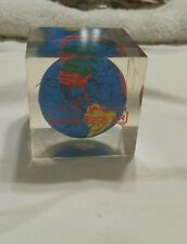 VINTAGE GLOBE ACRYLIC PAPERWEIGHT LITTLE ROCK SOUVENIR  ENCASED SQUARE 2 INCH