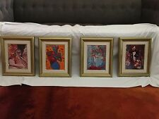 Set of 4 Peter Max Franklin Mint Ladies of the 80s Porcelain Plaques with CoA