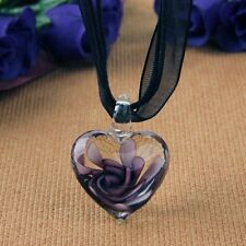 Murano Glass Pendant Necklace Purple Heart Flowers CT