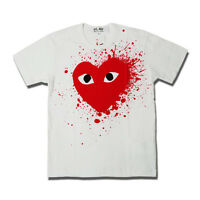 New Comme Des Garcons CDG Play Cotton White T-shirts Top