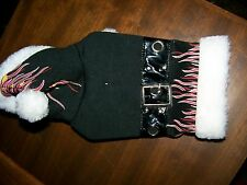 NEW ADORABLE BRETT MICHAELS PETS ROCKS BLACK WT FLAMES & FAUX FUR DOGGIE COAT XS