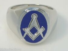 "Oval Blue Enamel No Stone No "" G "" Free Mason Masonic Men Ring Size 9"